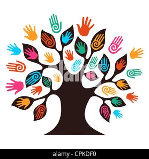 Isolierte Vielfalt Baum Hände Abbildung. Vektor-Datei geschichtet für einfache Handhabung und individuelle Farbgebung. - Stockfoto