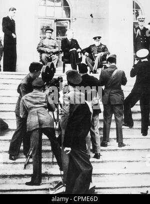 Joseph Stalin, Roosevelt und Winston Churchill auf der Teheran-Konferenz, 28. November 1943 (s/w Foto) - Stockfoto
