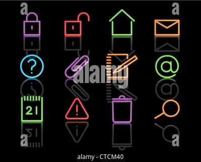 Vektor-set elegante Neon einfache Symbole für allgemeine Computerfunktionen - Stockfoto