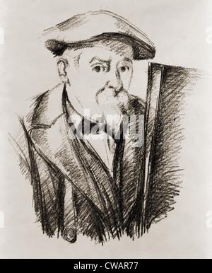 Paul Cézanne (1839-1906), französische Post-Impressionist Maler, ein Selbstporträt an seiner Staffelei. Ca. 1900. - Stockfoto