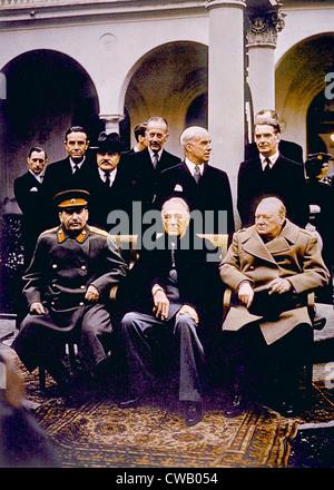Der Konferenz von Jalta sitzend () Joseph Stalin, Roosevelt, Winston Churchill, Februar 1945 - Stockfoto