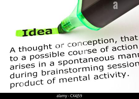 Definition des Wortes, die Idee mit Filzstift grün markiert - Stockfoto