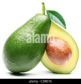 Avocado auf einem weißen Hintergrund isoliert. - Stockfoto