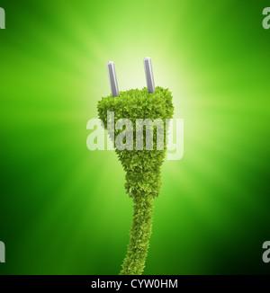Grass bedeckt Stecker - erneuerbare Energie-Konzept - Stockfoto