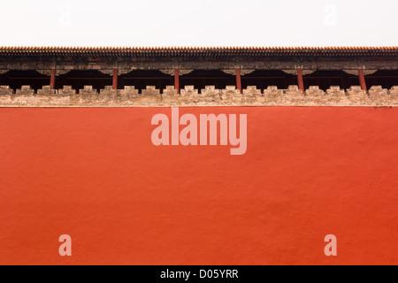 Hohe Mauer um verbotene Stadt (Zijin Cheng), Beijing, China - Stockfoto
