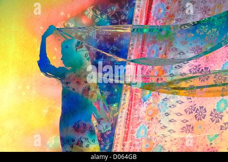 Inderin mit Stern und floral gemusterten Schleier im Wind. Silhouette. Bunte montage - Stockfoto