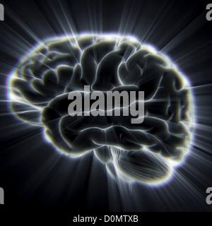 Diagramm des menschlichen Gehirns ausgehenden Lichtstrahlen. - Stockfoto