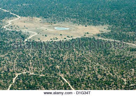 Luftaufnahme der Landebahn, Straßen- und kleinen Wasserloch, Etosha Nationalpark, Namibia, Afrika - Stockfoto