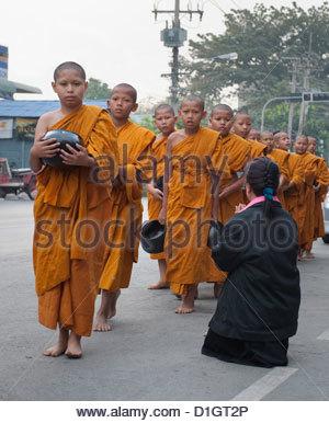 Junge buddhistische Mönche Almosen in den Morgen, Ayutthaya, Thailand, Südostasien, Asien - Stockfoto