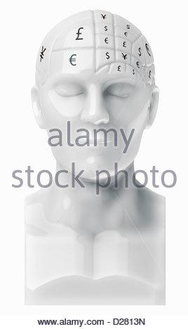 Währungssymbole die Gehirn auf Büste - Stockfoto