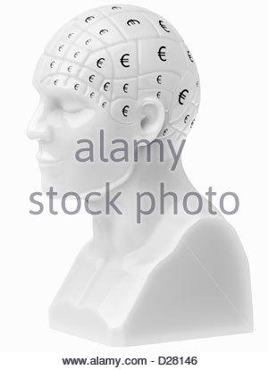 Euro-Zeichen die Gehirn auf Büste - Stockfoto