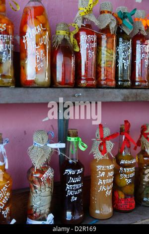 Bunte Obst Gemüse und Chili peppers Souvenirs, Arraial d ' Ajuda, Bahia, Brasilien, Südamerika - Stockfoto