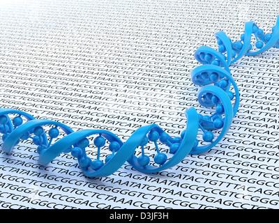 DNA-Strang Sequenzierung Konzept Abbildung - Stockfoto