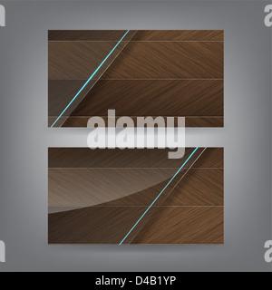 Holz und Neon Glas Thema Visitenkarte Vorlage (Teil 1) - Stockfoto