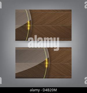 Holz und Neon Glas Thema Visitenkarte Vorlage (Teil 3) - Stockfoto