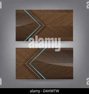 Holz und Neon Glas Thema Visitenkarte Vorlage (Teil2) - Stockfoto