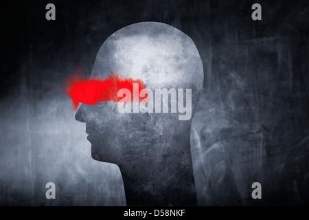 Konzeptbild von einer abstrakten Kopf mit roter Farbe über den Augen. - Stockfoto