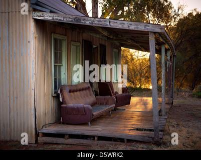 Alten Arbeitnehmer Hütte Yanga Station. Balranald, NSW, Australien - Stockfoto