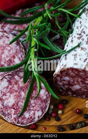 Nahaufnahme salami - Stockfoto