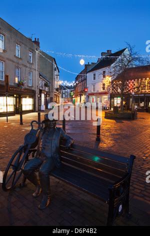 Blind Jack Statue an Weihnachten, Knaresborough, North Yorkshire, Yorkshire, England, Vereinigtes Königreich, Europa - Stockfoto