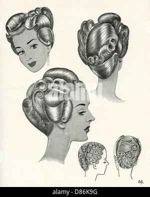 1940er Jahre Frisuren - Stockfoto