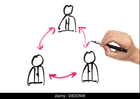 Teamarbeit-Konzept Zeichnung auf weißem Papier - Stockfoto