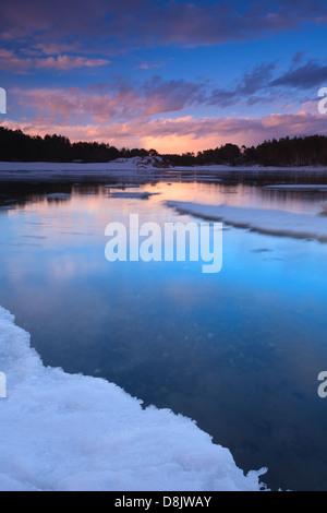 Winterlandschaft bei Larkollen in Rygge Kommune, Østfold Fylke, Norwegen. - Stockfoto