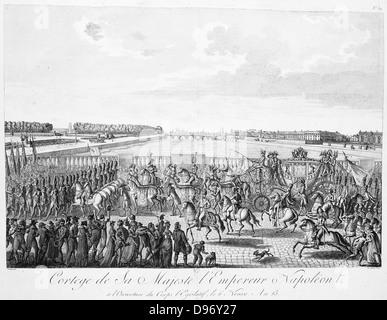 Kutsche mit Pferden mit Napoleon i. von Frankreich Circa 1807 - Stockfoto