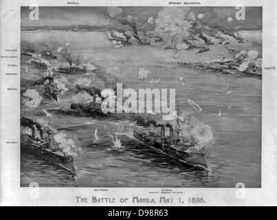 Spanish-amerikanischer Krieg 1898: Schlacht der Bucht von Manila, Philippinen, 1. Mai 1898, der ersten großen Engagement - Stockfoto