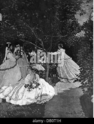 """Bildende Kunst, Monet, Claude (1840-1926), Malerei, """"Frau im Garten"""" (Femmes au Jardin), ca. 1866, Öl auf Leinwand, - Stockfoto"""