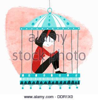 Unglückliche Frau sitzen im Vogelkäfig - Stockfoto