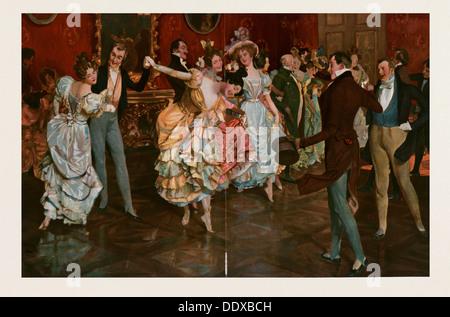 Tanz-Gemälde von Leopold Schmutzler 1864-1941, böhmischer Maler, lebte in Deutschland. tanzen, Tänzer, jung, Bewegung, - Stockfoto