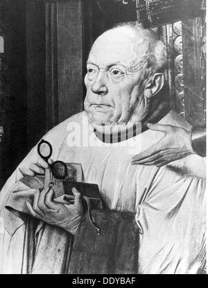 """Medizin Augenheilkunde Canon van der Paele mit Brille, Gemälde von Jan van Eyck (ca. 1390-1441) """"Jungfrau und Kind - Stockfoto"""