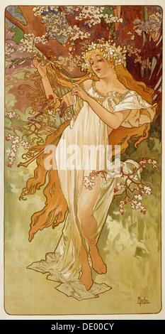 """Frühling"", 1896.  Künstler: Alphonse Mucha - Stockfoto"