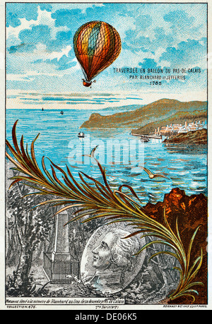 Überquerung des Ärmelkanals von Blanchard und Jeffries, 1785 (1890er Jahre). Künstler: Anon - Stockfoto