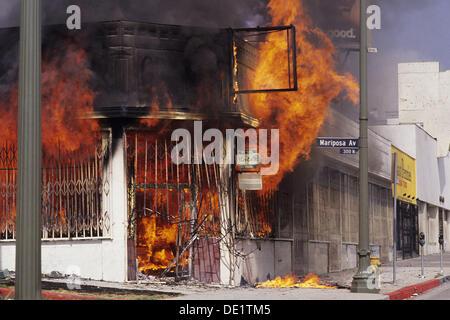 Szene aus Los Angeles Aufstände 1992. Kalifornien. USA - Stockfoto