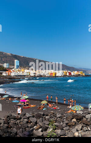 Strand von Playa Jardin, Punta Brava, Puerto De La Cruz, Teneriffa, Kanarische Inseln, Spanien - Stockfoto