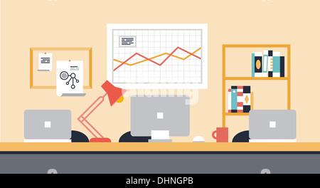 Flache Darstellung der stilvolle moderne Arbeitsbereich Interieur für die Zusammenarbeit im Team oder Leute, die - Stockfoto
