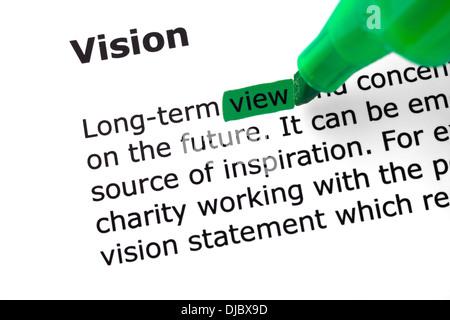 Das Wort, die, das Vision in grün mit Filzstift hervorgehoben - Stockfoto