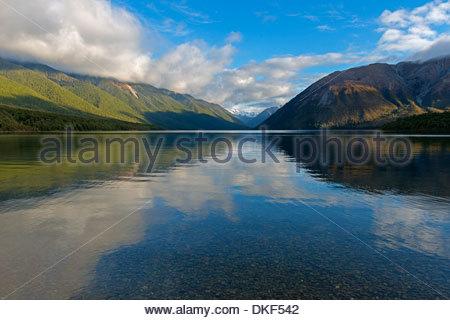 Lake Rotoiti, Nelson-Lakes-Nationalpark, Südinsel, Neuseeland - Stockfoto