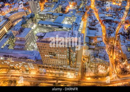 Blick vom Jentower, Ernst-Abbe-Platz und das Gebäude B59, Jena, Thüringen, Deutschland, Europa - Stockfoto