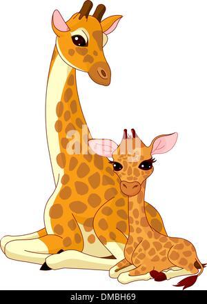 Mutter-Giraffe und Baby-giraffe - Stockfoto