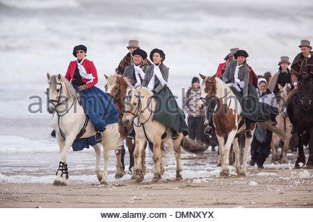 Scheveningen, Niederlande Zweihundertjahrfeier. Historischen Landung am Strand von Scheveningen. Die Bourgeoisie - Stockfoto