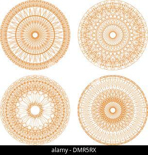 Guilloche Rosetten Zertifikat oder Diplome, dekorative Elemente - Stockfoto