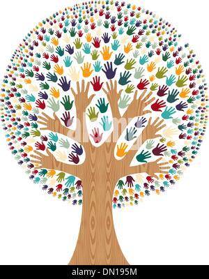 Isolierte Vielfalt Baum Hände - Stockfoto