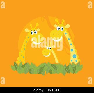 Niedliche Giraffe Familienporträt - Stockfoto