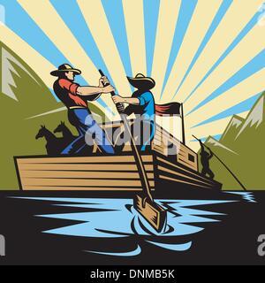 Abbildung eines Cowboy-Mannes Lenkung Flachboot Fluss entlang - Stockfoto