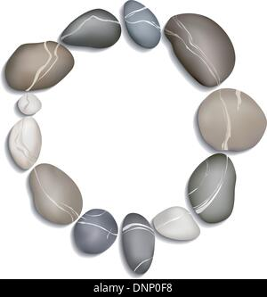 Kreis aus zwölf Kieselsteinen auf weißem Hintergrund mit Schatten - Stockfoto