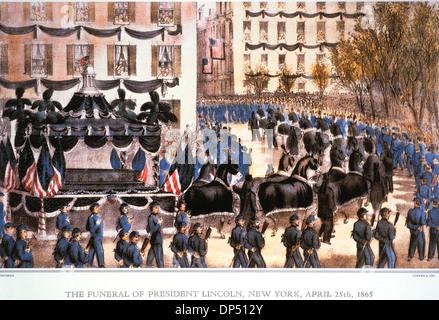 Die Beerdigung von Präsident Lincoln, New York, 25. April 1865, Lithographie, Currier & Ives, 1865 - Stockfoto