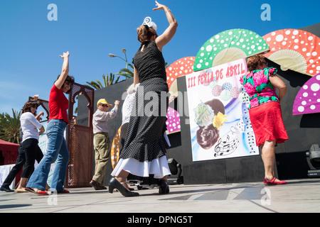 Flamenco Tanz Lessson Feria de Abril Flamenco Wochenende in Las Palmas, Gran Canaria, Kanarische Inseln, Spanien - Stockfoto